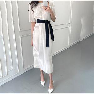 Şık dökümlü Çizgili Uzun Elbise Kadınlar İnce Ofis Lady Yarım Kol Yüksek Bel Maxi Elbiseler Kadın 2020 Yaz O-Boyun Vestdios