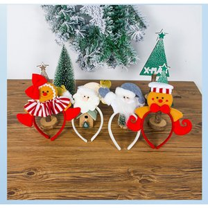 12 pcs Lot Christmas Headband Cloth Santa Claus Headband Hair Tie Cute Biscuit Man Little Girl Headwear Chrismas Gift