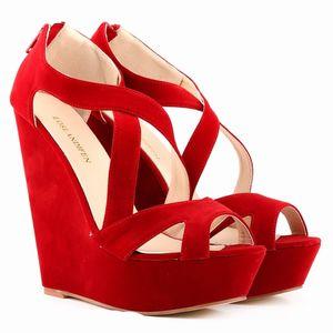 Лето Красный пляж Клин сандалии женщин лодыжки ремень платформы Гладиатор Обувь Женщины Chaussure высоких каблуках сандалии Mujer 2020