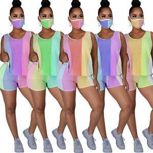Sleeveless Panelled Womens Tracksuits Summer Striped O-neck Casual Home Womens 2PCS Slim Floral Contain Mask Female Two Piece Outfits