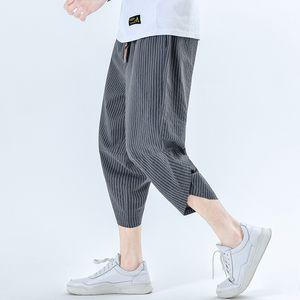 iiDossan Scrathed tornozelo-comprimento de linho calças dos homens Regular Fit Casual Calças Mulheres japonês Streetwear Harajuku linho Calças Casual