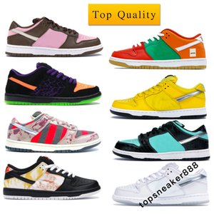 أعلى جودة منخفضة الكرز رجل أحذية عارضNike SB Dunk Low Diamond Supply Co White Diamond Stussy Cherry Man Designer Shoes Women Sneaker Sport  Cancry مع صندوق حجم 36-45