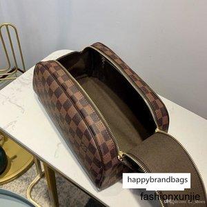 Luxo Generoso King Size Toiletry Bag Damier Canvas Ebene e apresenta um largo dobro Zipper Abertura Fácil Acesso