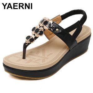 YAERNI Verão confortável Sandals Mulheres Platform Sandals Moda Flip Flops sapatos de mulher 35-40