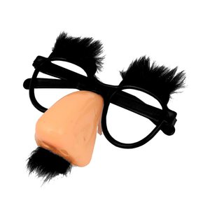 Coral Clown Pink Nose and Black Mustache Round Glasses