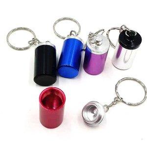 Artículos, tipo Mini Cadena Cenicero caja de aluminio del metal pequeño cilindro Ashtrayes producto Caja decorativa Organizador portátil 2 8HQ B2