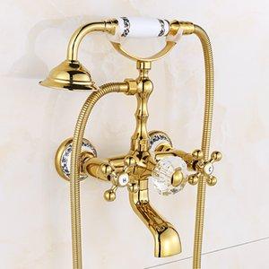 Wall Mount European Antique Shower Faucet Gold Polsh Bathroom Shower Faucet Brass And Crystal Retro European Set DI2