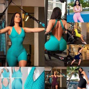 ABD STOK Spor Giyim Kadın Tek parça Spor Seti Egzersiz Gym Fitness Jumpsuit Kısa Seksi Yoga Seti Bandaj Gym Bodysuit Suit