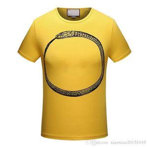 Spring brand shirt nibbling ring letter men and women round neck fashion short sleeve serpentine printing t-shirt men's shirt.