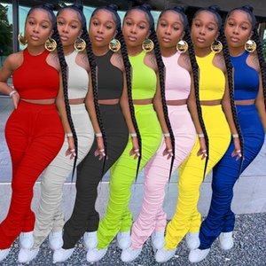 Verano de las mujeres de dos piezas de pantalones cortos ropa de diseñadores chándal Tops Traje ocasional sólida de color Ropa Mujer Sexy tirantes más del tamaño 871-1