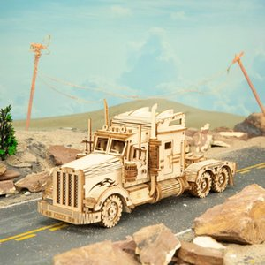 Robotime 286pcs Classic DIY Movable 3D America Heavy Truck Wooden Puzzle Game Assembly Toy Gift for Children Teens Adult MC502 Y200414