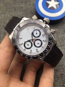 Keramik Herrenuhr Lünette Art und Weise weißes Zifferblatt Armband Faltschließe Männlich All 3 Dials Arbeit Full Function Armbanduhr Tag Uhr.