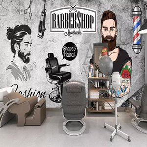 Retro Vintage Hair Salon Hair Salon Retro Vintage Background Image Wall Barber Custom 3D Photo Wallpaper