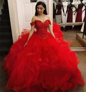 Sweet 16 Quinceanera Dresses Red Ruffles Tiered Lace Sequins Beaded Formal Party Pageant Gowns 2020 Off Shoulder Evening Prom Dress AL6536