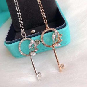 S925 sterling silver plating thick gold diamond feather key necklace hot Internet celebrity all-match sweater chain