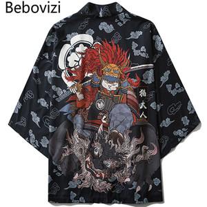 ONDE Vêtements Îles Asie-Pacifique Vêtements Bebovizi Style Japonais Chat Samurai Kimono Streetwear Hommes Femmes Cardigan Japon Harajuku ...