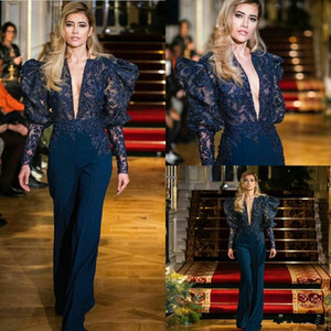 Navy Blue Evening Jumpsuit 2020 New Sexy V-neck Puffy Long Sleeve Red Carpet Celebrity Dress Lace Appliqued Prom Gowns Pant Suit