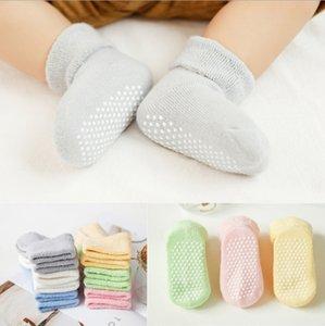 Baby Floor Socks Anti Slip Infant Socks Solid Newborn Boy Sneaker Footsocks Thick Toddler Girl Footwear First Walker 6 Colors 120pcs DW4684