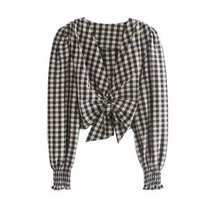 Mulheres Moda V-neck Anel plissadas bowknot Plaid Shirts Mulher Summer Long manga curta Blusa Femme Cortar Tops S7668