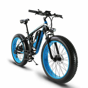 "NEW 26"" 1000W 48V Electric Fat Bike Full Suspension Frame 7 Speeds"