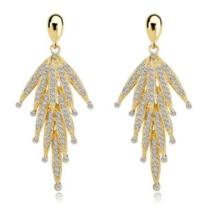 Shining Fashion Crystals Earrings Rhinestones Long Drop Earring For Women Bridal Jewelry Wedding Gift For Bridesmaids