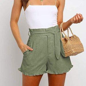 Fashion Ruffle Hem Belted Women Shorts Casual Loose Solid Shorts Cotton Linen Short Pants Women High Waist Summer Plus Size