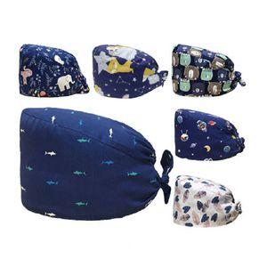 Nuovo Scrub Nurse Hat Gorros Quirurgicos floreale Headwear Bouffant Cap sanitario con stampa del fumetto Parasudore Nursing Caps Scrub Cap