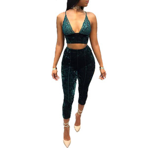 KGFIGU Autumn New Style Velvet Two Piece Set Women Lace V Neck Top and Pants Two Piece Outfits Womens Clothing Matching Sets