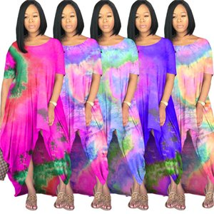 Oversize Tie Dye Womens Dresses Summer Big Swing Loose Casual Womens Designer Maxi Dresses Irregular Summer Womens Plus Size Clothing