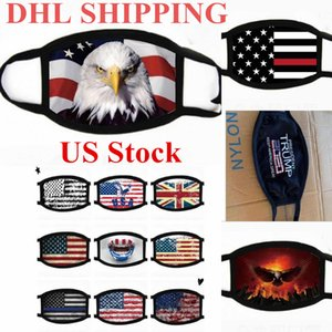 DHL Shipping US Stock! Designer Mask Cotton Trump Mouth Mask Cycling Adult Anti Dust American Flag Cotton Washable Reusable Cloth Masks