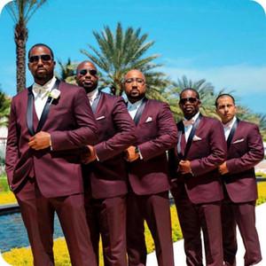 Burgund Männer Anzüge Hochzeitsanzüge für Mann-Schal Revers Bräutigam Individuelle Slim Fit Formal Smoking-Bräutigam-Wear Jacket + Pants + Vest