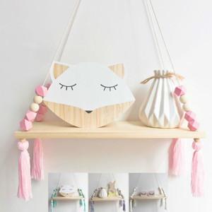 Nursery nordique Enfants Décor Glands étagère de rangement rack Tenture bois Jouets bébé Modèle enfant Chambre Furnish Artic Décoration