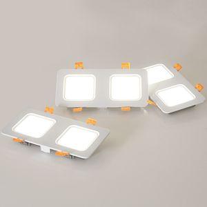 Double Head LED Recessed Downlight Spot light 24W 18W Ceiling LED Downlight Dimmable 85-265V ceiling led lamp Indoor Lighting