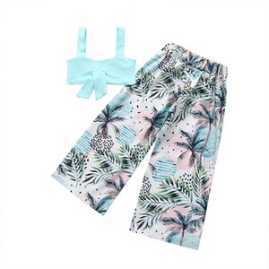 Baby Floral Print High Waist Pant Set Girl Summer Bowknot Blue Tops and Long Trousers Suit Kids Clothes Two Pieces