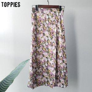 toppies 2020 summer oil painting skirts elastic waist midi skirts korean fashion streetwear high waist