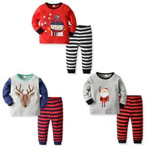 Christmas Baby Pajamas Set Toddler Boys Tops Striped Pants 2pcs Sets Baby Girl Home Suits Children Clothing Santa Elk Snowman 3 Design 4757