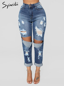 jeans woman mom jeans sexy pants for women clubwear Full Length Hole Hollow Out Bleached Ripped boyfriend for women 2020