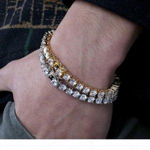 Designer Bracelet Hip Hop Jewelry Men Diamond Tennis Bracelet Iced Out Bling Bangles Love Luxury Charm Bracelets pour hommes Gold Silver 5MM