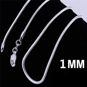 925 Sterling Silver Plated Snake Chain Necklaces for Woman Lobster Clasps Smooth Chain Statement Jewelry Size 1mm 16 20 inch m02 .