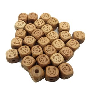 12mm Wood Square Bear head Beads Natural Wood Handcrafts Printed Moon Beads DIY Jewelry Accessories for Bracelets Bangles