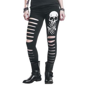 2020 New Fashion Skull Printed Hollow Hole Women Leggings Woman Pants High Quality