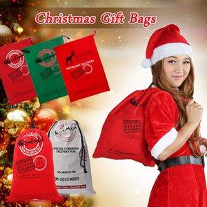 Newly 12 Styles Christmas Santa Sacks 1pc Drawstring Canvas Santa Sack Xmas Canvas Bag Hot Sale Big Claus Gift Bag#92299
