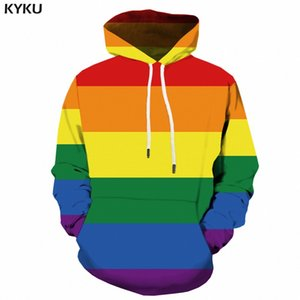 KYKU à capuche arc-en-Hoodies Légitime Gay Men 3d long Sweatshirt Bannière coloré Anime Homme Hommes Vêtements Streetwear CX200723