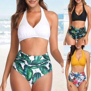 Nuoto Estate Suit biquini Due pezzi di abito Donne Stampato Bikini Push-up a vita alta Swimsuit Swimwear del bagnante di Tankini ecoz #