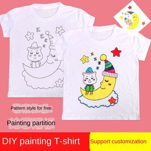 jKizS Children's handmade Diy painting color matching tie-dyed blank kindergarten Diy White T-shirt white T-shirt parent-child warm-up activ