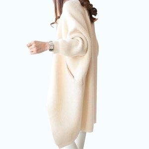 2020 Women Long Cardigans Autumn Winter Stitch Poncho Knitting Sweater Female Over sized Shawl Cape Jacket Coat Trench Parkas