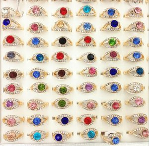 2020 Hot sale woman Gold ring alloy Color crystal ring Mixed size Fashion ring anniversary gift Mixed style 20pcs lot