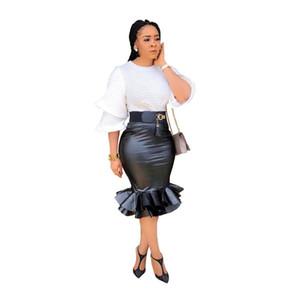 PU de cuero de imitación de la falda corta de las mujeres de la colmena de las faldas de talle alto Negro partido del club de las señoras atractivas de la falda del lápiz con la cremallera