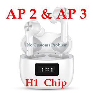 Air Gen 3 AP3 H1 Chip Transparência do metal Dobradiça de carregamento sem fio Bluetooth Headphones pk TWS AirPro 2 AP Pro AP2 W1 Earbuds 2ª Geração