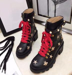 2020 mujeres de la llegada botas de cuero de lujo atractivo del talón grueso Desierto Plataforma de arranque abeja estrella del cuero genuino Tamaño de zapatos de invierno 35-41